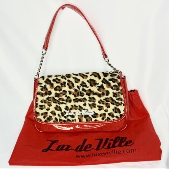 Handtasche LACQUER LEOPARD leopard// red